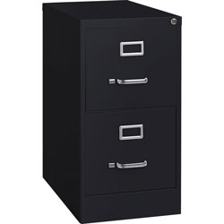 Lorell Vertical File, 22 in Deep, Comm, 2-Drawer, 15 in x 22 in, 28 in, BK