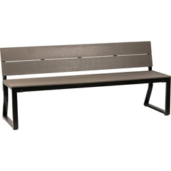 Lorell Bench, w/Backrest, Outdoor, 72 inx22 inx18-1/8 in, Charcoal/Black