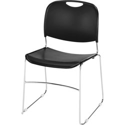 Lorell Wire Frame Stack Chair, 19 inx19 in30 in, Black