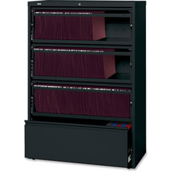 Lorell Lateral File, RCD, 4-Drawer, 36 in x 18-5/8 in x 52-1/2 in, Black