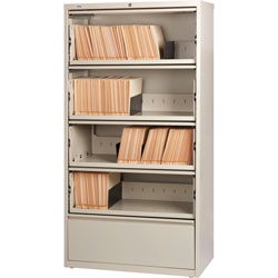 Lorell Lateral File, RCD, 5-Drawer, 36 in x 18-5/8 in x 68-3/4 in, Putty