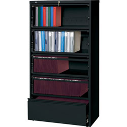 Lorell Lateral File, RCD, 5-Drawer, 36 in x 18-5/8 in x 68-3/4 in, Black