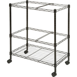 Lorell Mobile Filing Cart, 2-Tier, Letter/Legal, 26 in x 12-1/2 in x 30 in, Black
