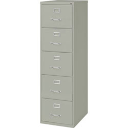 Lorell Vertical File, 5-Drawer, Legal, 18 in x 26-1/2 in x 61 in, Gray