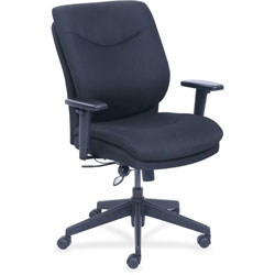Lorell Task Chair, Leather, 27-1/2 in x 27 in x 45-1/4 in, Black