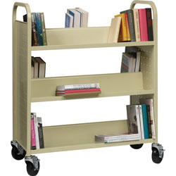 Lorell Double-Sided Booktruck, 39 in x 19 in x 46 in, Putty