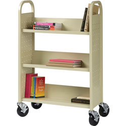 Lorell Single-Sided Booktruck, 32 in x 14 in x 46 in, Putty