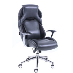 Lorell Executive Chair, Bonded Leather, 27 inWx30-1/4 inLx48-1/2 inH, Black