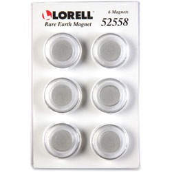 Lorell Rare Earth Magnetic Paper Clips, 24/PK, Clear