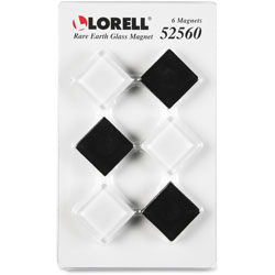 Lorell Rare Earth Glass Magnets, 24/PK, Black/White