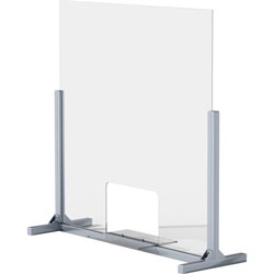 Lorell Removable Shelf Glass Protective Screen, 36 in Width x 0.3 in Depth x 36 in Height, 1 Each, Clear, Tempered Glass, Aluminum