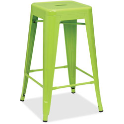 Lorell Metal Stool, 30-1/2 in x 30-1/2' x 26 in, 2/CT, Lime