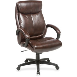 Lorell High Back Leather Chair, 28 in x 31-3/4 in x 45-1/2 in, Brown