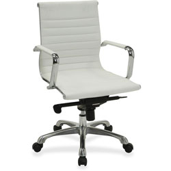 Lorell Modern Mid Back Chair, 24-3/4 in x 25 in x 39-3/8 in, White