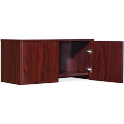 Lorell Wall Mount Hutch, 30 in x 15 in x 17 in, Mahogany