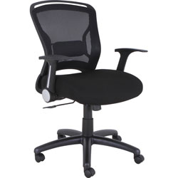 Lorell Flipper Arm Midback Chair, 27-3/4 in x 28 in x 39-5/8 in, BK