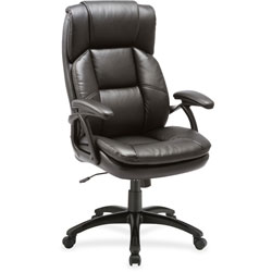Lorell Leather Hi-Back Chair, 27 in x 32 in x 44-1/2 in, BK