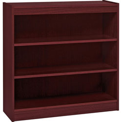 "Lorell 2 Shelf Veneer Panel Bookcase, 36""Wx12""Dx36""H, Mahogany"