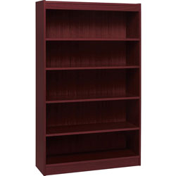 "Lorell 4 Shelf Veneer Panel Bookcase, 36""Wx12""Dx60""H, Mahogany"