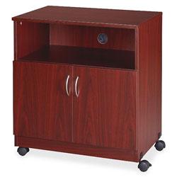 Lorell Mobile Machine Stand w/Shelf, 28 inx19-3/4 inx30-1/2 in, Mahogany