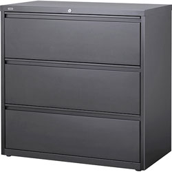 Lorell Lateral File, 3-Doorawer, 42 in x 18-5/8 in x 40-1/4 in, Charcoal