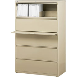 Lorell 5 Drawer Metal Lateral File Cabinet, 38 inx21.5 inx71.5 in, Beige
