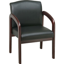 """Lorell Deluxe Guest Chair, 23"""" x 25 1/2"""" x 33 1/2"""", Black/Mahogany Frame"""