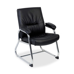 "Lorell Guest Chair, 24 1/4""x27""x35 3/4"", Black Leather"