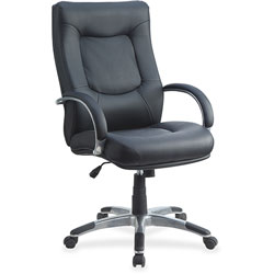 """Lorell Exec High Back Chair, 26 1/2"""" x 28 1/4"""" x 44 1/2"""" to 48"""", Black Leather"""