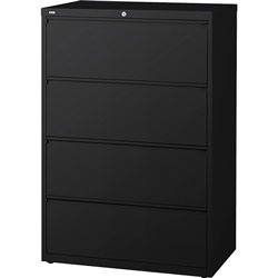Lorell 4 Drawer Metal Lateral File Cabinet, 42 inx18-5/8 inx52.5 in, Black