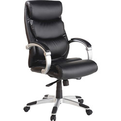 Lorell Executive Bonded Leather High-back Chair with Flex Arms, Black
