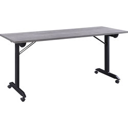 Lorell Mobile Folding Training Table, Rectangle Top, Powder Coated Base, 23.63 in Table Top Length x 29.50 in Table Top Width, 63 in Height, Assembly Required, Weathered Charcoal
