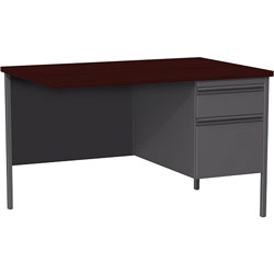 Lorell Single Pedestal Rtn Desk, RH, 42 in x 24 in x 29-1/2 in, Mahogany