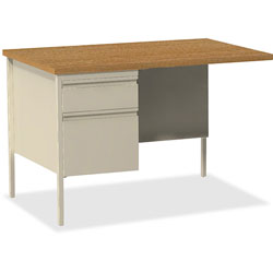 Lorell Single Pedestal Rtn Desk, LH, 42 in x 24 in x 29-1/2 in, Putty Oak