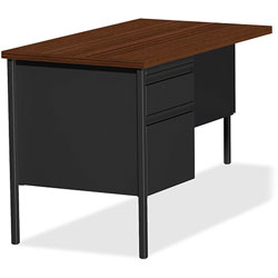 Lorell Single Pedestal Rtn Desk, LH, 42 in x 24 in x 29-1/2 in, Black Walnut