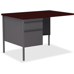 Lorell Single Pedestal Rtn Desk, LH, 42 in x 24 in x 29-1/2 in, Mahogany