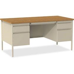 Lorell Double Pedestal Desk, 60 in x 30 in x 29-1/2 in, Putty Oak