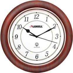 "Lorell Wall Clock, Arabic Numerals, 13-1/2"", White Dial/Mahogany"