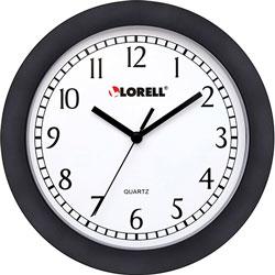 Lorell Wall Clock, 9 in, Arabic Numerals, White Dial/Black Frame