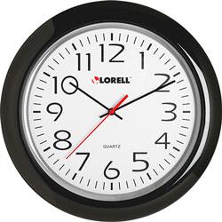 "Lorell Wall Clock, 13-1/4"", Arabic Numerals, Black Frame"