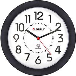 """Lorell Wall Clock, 9"""", Arabic Numerals, White Dial/Black Frame"""