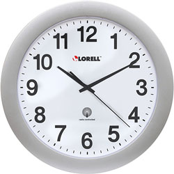 "Lorell Wall Clock, 12"", Arabic Numerals, White Dial/Silver Frame"