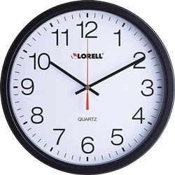 Lorell Clock, Wall, Quartz, Silent Sweep, 12-1/2 in, Black