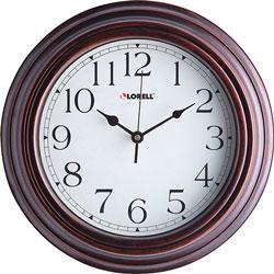 Lorell Clock, Wall, Quartz, Silent Sweep, 11-3/4 in, Brown