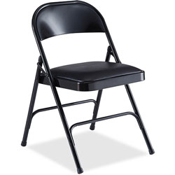 Lorell Padded Folding Chair, 19-3/8 in x 18-1/4 in x 29-5/8 in, 4/CT, Black