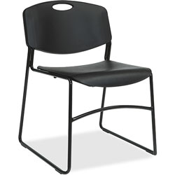 Lorell Stacking Chair, 450 lb Capacity, 4/CT, Black