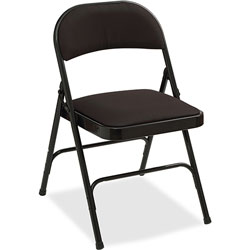 Lorell Padded Seat Folding Chairs,400 lb. Cap, 29-1/2 in x 2 in x 23-1/3 in, 4/CT, Black