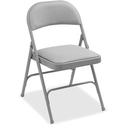 Lorell Padded Seat Folding Chairs,400 lb. Cap, 29-1/2 in x 2 in x 23-1/3 in, 4/CT, Beige