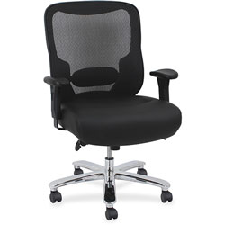 Lorell Big & Tall Chair, Adjustable Arms, 29-1/8 in x 31-1/8 in x 42-1/2 in, Black