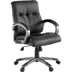 Lorell Executive Chair, Low-Back, 27 in x 32 in x 41 in, Base/Arms, BK/SR